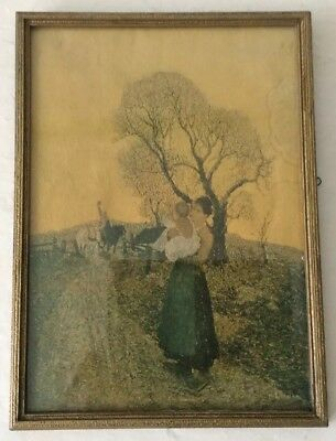 Old  Antique Print Framed 1925 Mother & Child Waving To Daddy on Horse