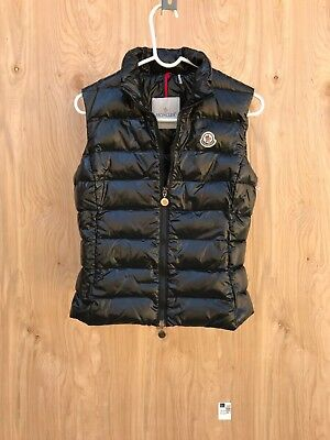 58d72a454 MONCLER GHANY WATER Resistant Shiny Nylon Down Puffer Vest , Black , Size 1