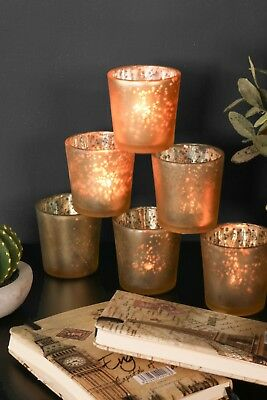 Set of 6 Frosted Gold Tea Light Glass Votive Candle Holders Table Setting Decor