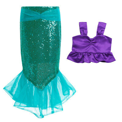 2PCS Kids Girl Shiny Sequins Mermaid Tails Party Costume Outfits Top+Skirt Dress