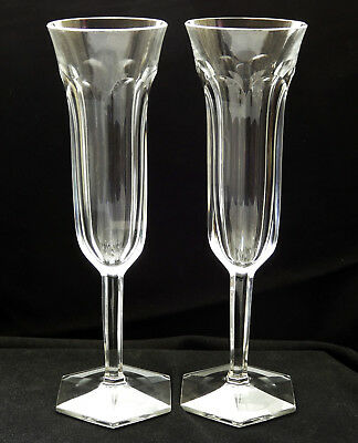 Pair of Baccarat Cut Crystal Champagne Flute Glasses Malmaison Pattern 7 1/2''