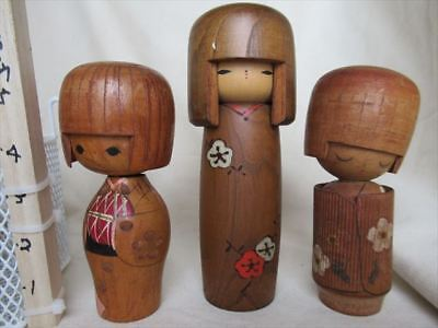 Cute kokeshi Japanese antique wooden doll 2 set