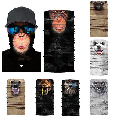 Eg_ 3D Animal Unisex Scarf Neck Mask Tube Headband Cycling Motorcycle Headwear F