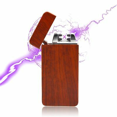 USB Electric Dual Arc Flameless Torch Rechargeable Windproof Lighter Red Wood