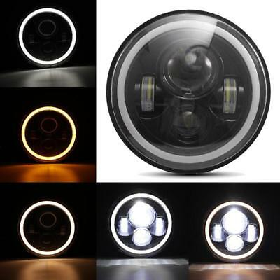 """7"""" Motorcycle Black Projector Daymaker LED Light Bulb Headlight For Harley TOP"""