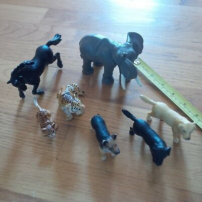 Schleich Animal Lot of 7 - ELEPHANT + TIGER + TIGER CUB + BLACK HORSE + 3 DOGS