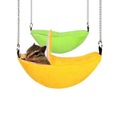 Eg_ Hamster Banana Shaped Hammock Small Pet Gerbil Rat Mouse Hanging Warm Nest F