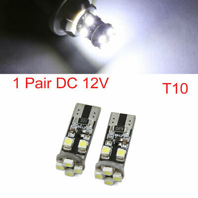 Pair T10 194 W5W Error Free 1210 SMD 8-LEDs Side Wedge Light Bulb White Interior