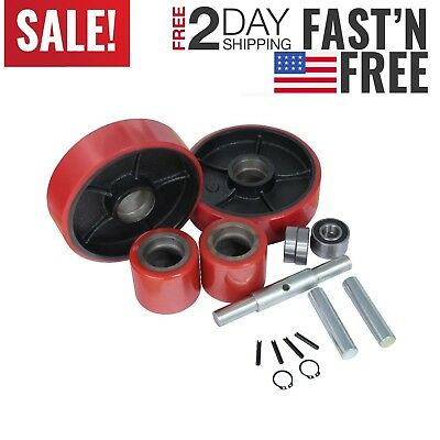 Load & Steering Wheel Set Replacement Part w/ bearing For Pallet Truck / Jack US