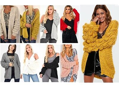 Womens Cable Knit Bobble Bubble Sleeve Chunky Oversized Cardigan Winter Jumper