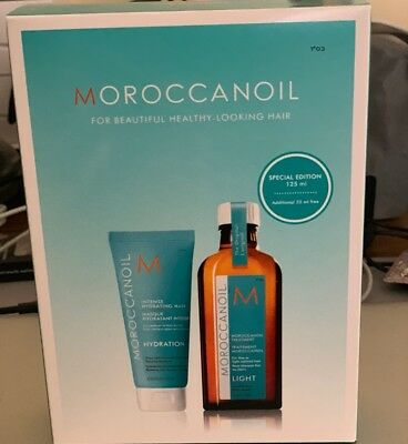 BEST PRICE Moroccan Oil Moroccanoil Treatment LIGHT 125ml Holiday Duo Gift Pack