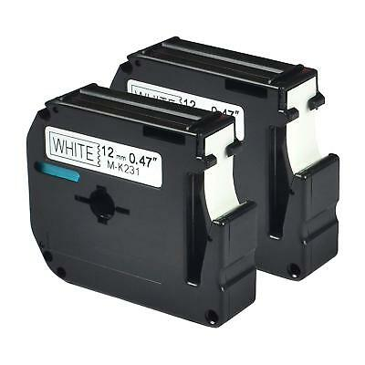 2PK Black on White Label Tape Compatible Brother M-K231 P-Touch 12mm lablemaker