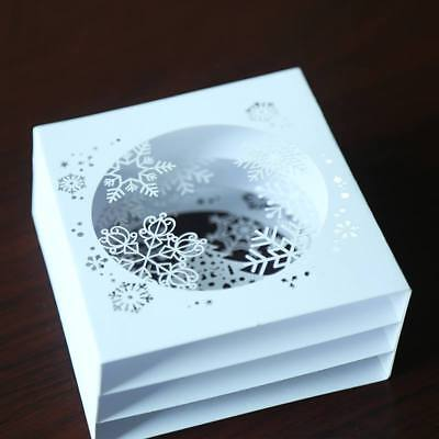 3D Pop Up Tree Box Snowflake Greeting Card Gift Holiday Merry Christmas Handmade