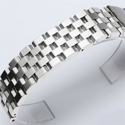 20 22 24mm Silver/Black Mens Stainless Steel Strap Replacement Wrist Watch Band