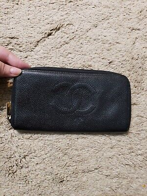 CHANEL CC Logo Zippy Coco Grainy Leather Long Wallet Clutch Holder Organizer JJ