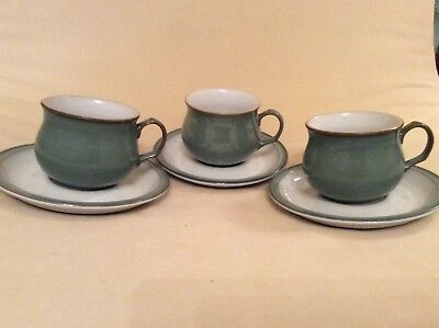 "DENBY ""REGENCY GREEN"" CUP AND SAUCER x3"