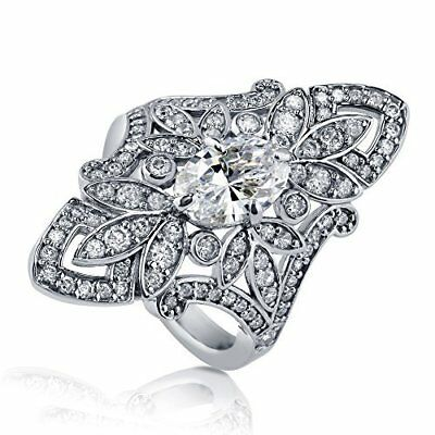 Luxury 925 Silver Wedding Rings for Women Oval Cut White Sapphire Size 6-10