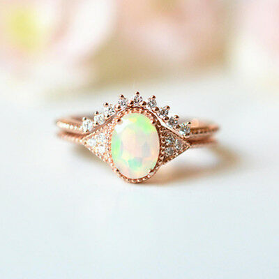 2pcs/set Oval Cut Opal Rose Gold Filled Rings Women Wedding Ring Size 6-10