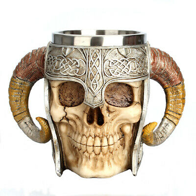 Stainless Steel 3D Skull Cup Viking Ram Horns Warrior Skull Beer Coffee Tea Mug