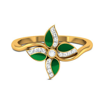 Four Leaf Wedding Ring for Women 18k Yellow Gold Plated White Sapphire Size 6-10
