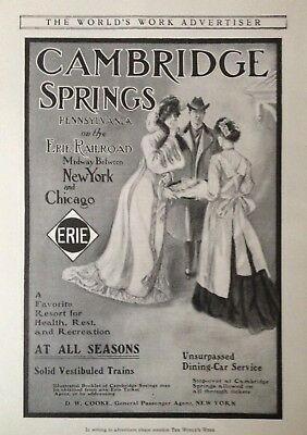 1904 Ad(H20)~Cambridge Springs, Pa. On Erie Railroad, A Resort For All Seasons