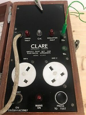 Clare Safety Test (Pat) Tester Vintage Industrial Instrument Model V.2Jkv