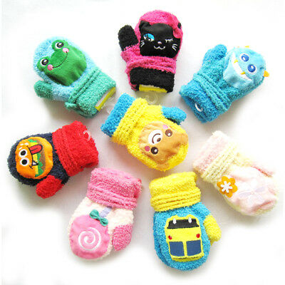 EG_ Cartoon Rabbit Lollipop Car Baby Sound Gloves Thicken Warm Winter Mittens So
