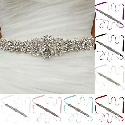 EG_ Elegan Wedding Dress Beaded Belt Crystal Bridal Sash Rhinestone Ribbon Sight