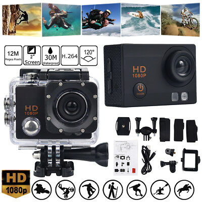 "30M Waterproof Camera HD 2"" 1080P Sports Action Camera DVR Cam Video Camcorder"