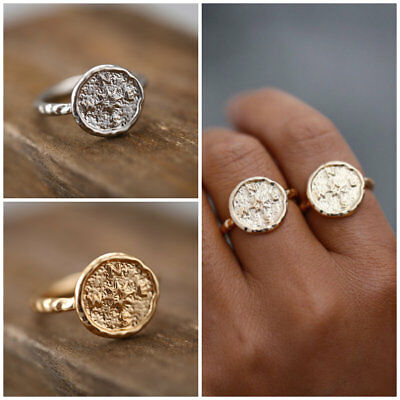 Fashion Women Gold Silver Plated Compass Pattern Vintage Joint Ring Jewelry 1Pcs