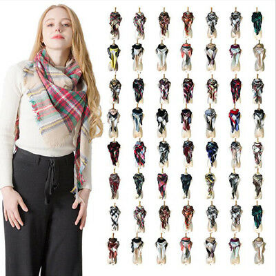 Women Lady Plaids Scarf Cashmere Sided Long Wrap Shawl Plaid Knit Scarf Pashmina