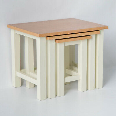 Farrow Cream Nest of Tables / Painted Living Room Side Tables / Oak Top