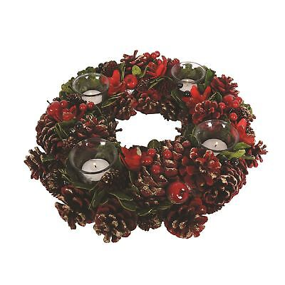 Festive Red & Green Round Christmas Tea Light Candle Holder