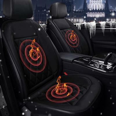 2Pc Auto Car Heated Seat Pad Cushion Front Heating Warmer Protector Cover Winter