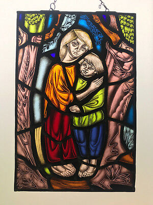 Lovely vintage stained glass window signed Mon Thomas, ca. 1970