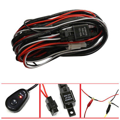 Wiring Harness Kit Loom For LED Work Driving Light Bar With Fuse Relay 12V