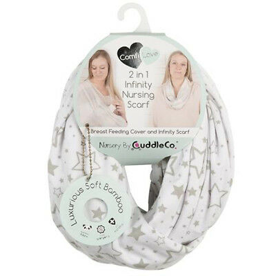 Soft Bamboo Luxurious Breast Feeding Cover & Infinity Scarf - Grey Stars