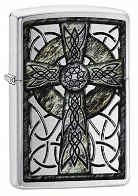 Zippo Unisex's Celtic Cross Design Windproof Pocket Lighter, Brushed Chrome, One