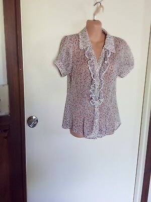Pretty Floral Top By Valley Girl Size 10
