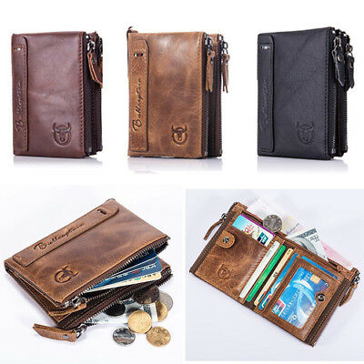 Mens Genuine Leather Wallet RFID SAFE Credit Card Blocking ID Protection Purse M
