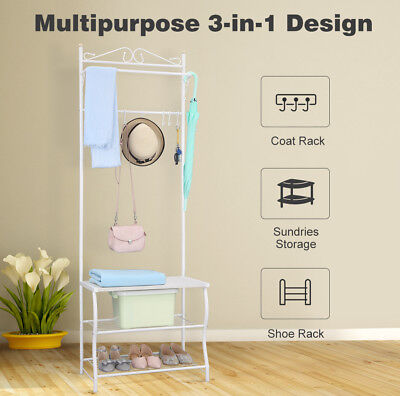 Hat Coat Rack Clothes Garment Hanger Shoe Storage Stand 3 Tiers 5 Hooks Metal
