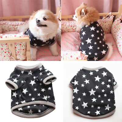 EG_ Winter Soft Pet Dog Fleece Pullover Star Pattern Fashion Puppy Short Sleeve