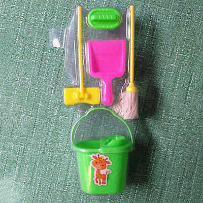 EG_ LX_ 5x Dolls House Broom Bucket Mop Cleaning Tools Set for Barbie Dollhouse