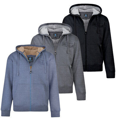 Mens KAM Sherpa Lined  Hooded Zip Up Sweat Jumper Casual Jacket  Big Size 2-8XL