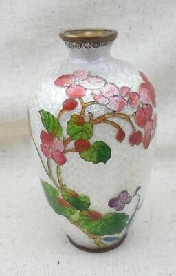 ANTIQUE JAPANESE MINIATURE FOIL Flowers Floral CLOISONNE VASE