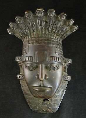 "Antique African Bronze Benin Mask of Chief. Fine old Patina.c 19th c. 13"" x 8 ½"""