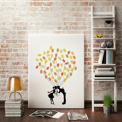 EG_ Kissing Couple Fingerprint Painting DIY Signature Canvas Wedding Guest Book