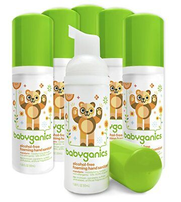 Babyganics Foaming Hand Sanitizer, Mandarin, On-The-Go, 50 ml PACK OF 4