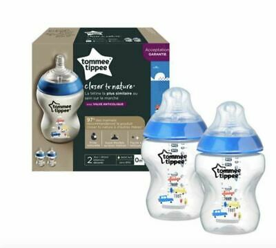 Tommee Tippee Closer to Nature Decorated Bottles - 2 x 260ml Bottles Blue