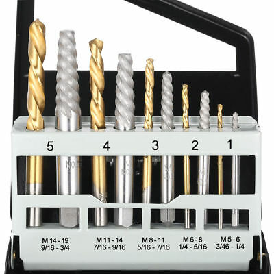 Screw Extractor | Left Hand Cobalt Drill Bit Set Easy Out Broken Bolt 10pc Set